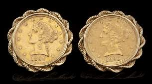 A PAIR OF 1895 LIBERTY GOLD COIN AND 14K CUFF LINKS