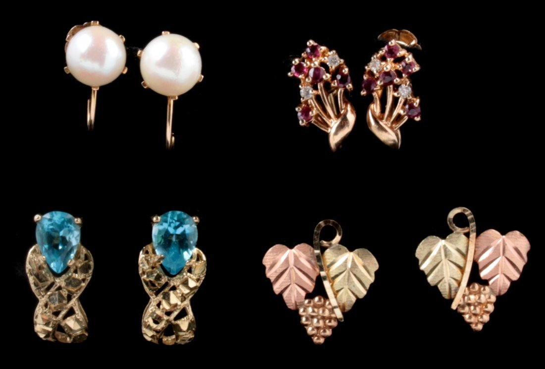 FOUR PAIRS 10K GOLD EARRINGS