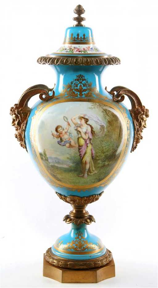 A Good Ormolu Mounted Sevres Style Vase Signed Bertren