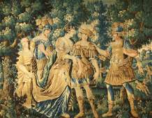 A 17TH C. BRUSSELS WOOL AND SILK MYTHOLOGICAL TAPESTRY
