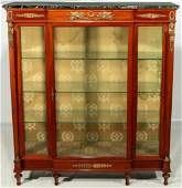 A 19TH C. FRENCH EMPIRE STYLE BRONZE MOUNTED VITRINE