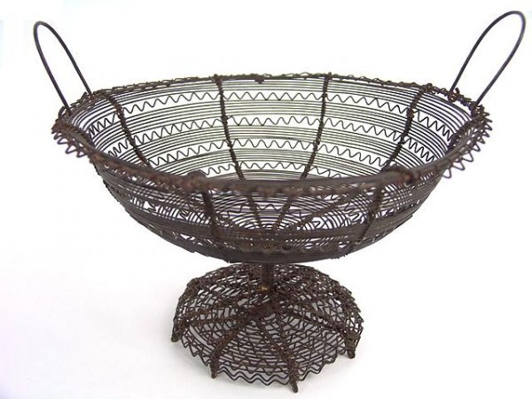 1: 19TH C. PRIMITIVE COMPOTE OF FINELY WOVEN WIRE, X-TR