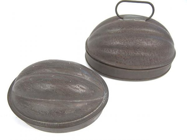 18: TWO UNUSUAL SIZE MELON FORM TIN FOOD MOLDS W/LID