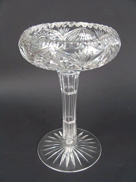 301: BRILLIANT PERIOD CUT GLASS COMPOTE W/NOTCHED HOLLO