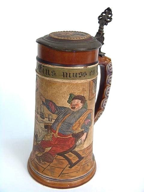 302: ANTIQUE ETCHED GERMAN STEIN WITH INLAID LID