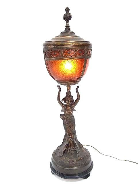 306: ANTIQUE NEWELL POST LAMP WITH FIGURAL MAIDEN