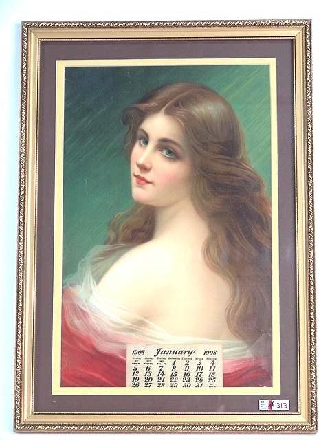 313: FRAMED 1908 LITHO CALENDAR