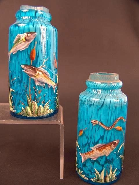 314: PAIR ENAMELED VICTORIAN ART GLASS SHAKERS ATTR. MO