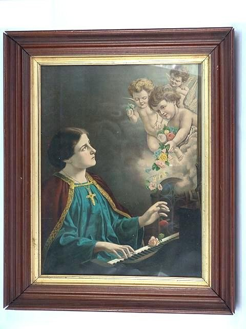 322: WALNUT FRAMED VICTORIAN PRINT WITH CUPIDS