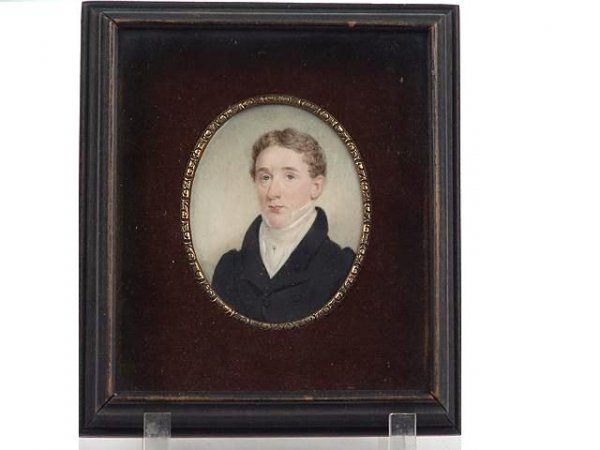 455: FINE EARLY 19TH C. MINIATURE PORTRAIT ON IVORY