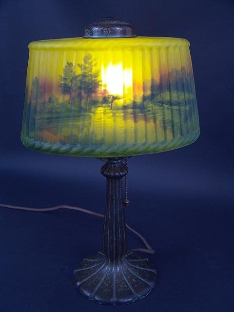 474: NICE 1920S  LAMP REVERSE PAINTED SHADE ATTR TO HAN