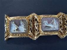 592: ANTIQUE GOLD VERMEIL BRACELET W/7 CARVED CAMEOS