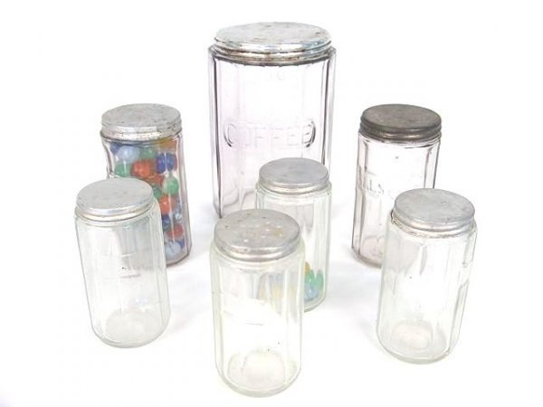 1002: LOT OF SEVEN KITCHEN CABINET SPICE AND COFFEE JAR