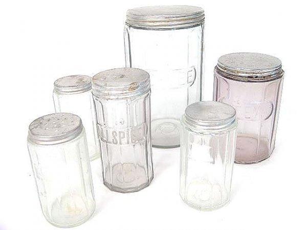 1004: LOT OF SIX ANTIQUE KITCHEN CABINET JARS