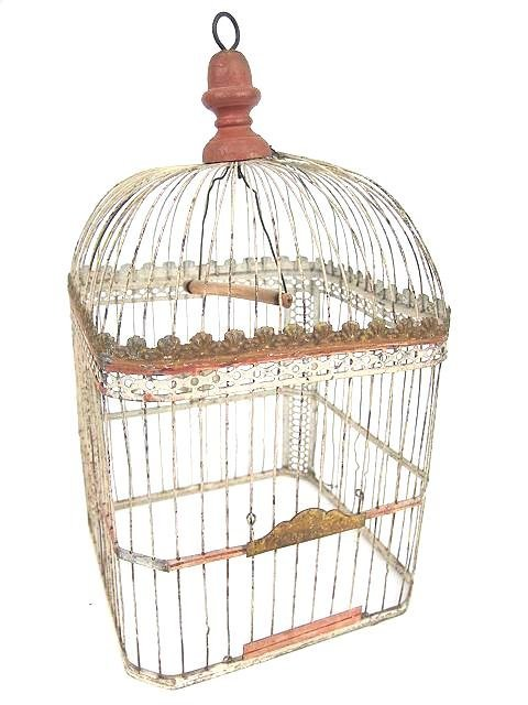 1011: ANTIQUE BIRD CAGE IN ORIGINAL PAINT
