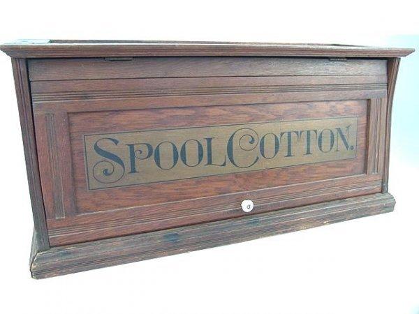 1012: GOOD OAK SPOOL COTTON STORE CABINET W/LIFT FRONT