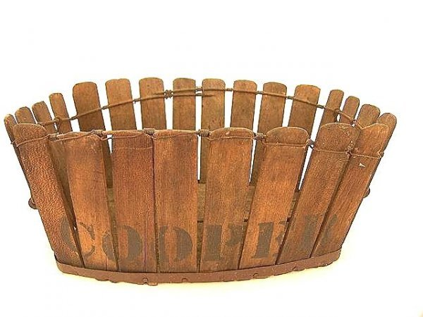 1016: ANTIQUE  PRIMITIVE WOOD STAVE BASKET MARKED COOPE