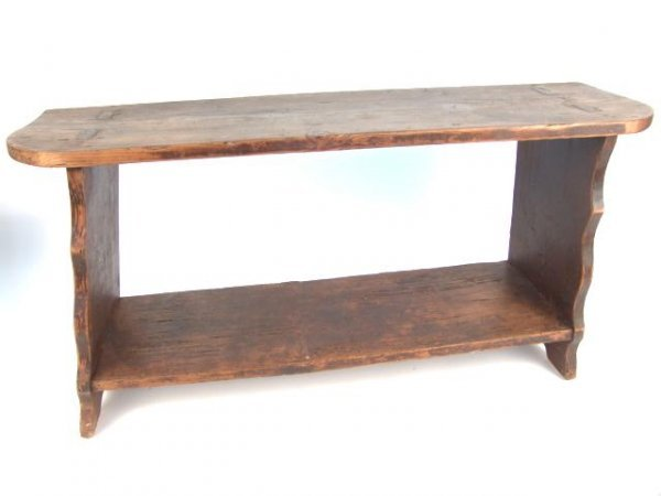 1019: NICE PINE BUCKET BENCH WITH SHAPED ENDS & OLD PAI