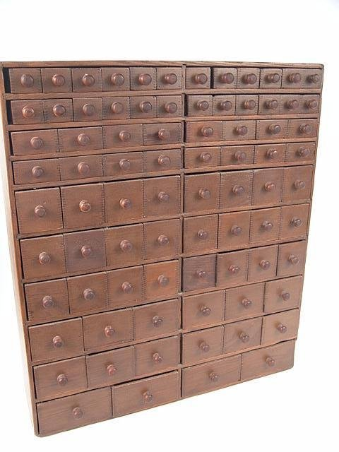 1061: GREAT 82 DRAWER ANTIQUE CABINET DOVETAILED ALL TH