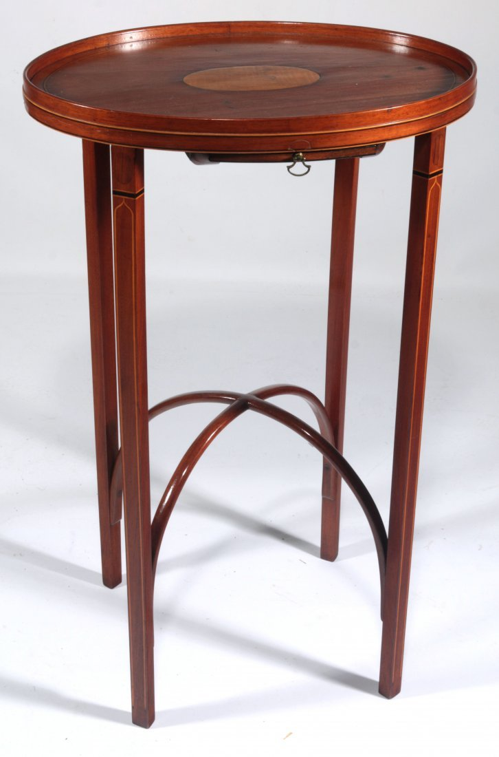 A PERIOD AMERICAN HEPPLEWHITE KETTLE STAND OF RARE FORM