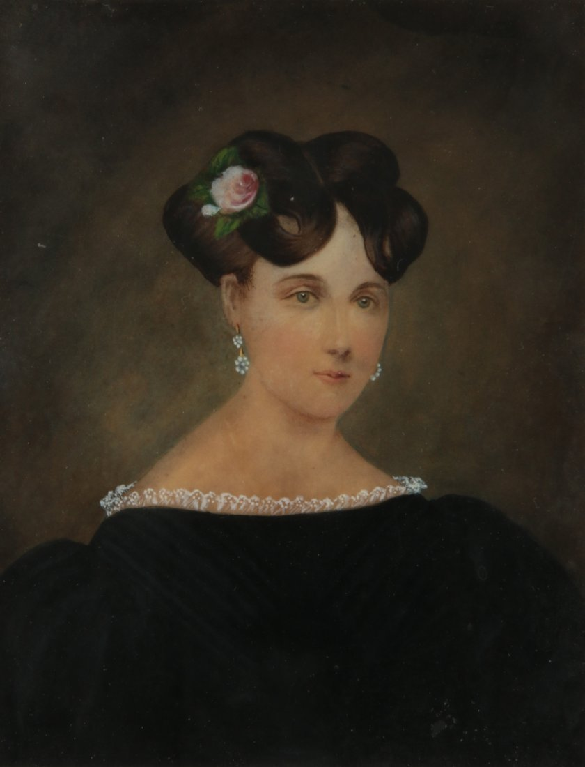 A PERIOD AMERICAN PORTRAIT OF A YOUNG WOMAN C.1840