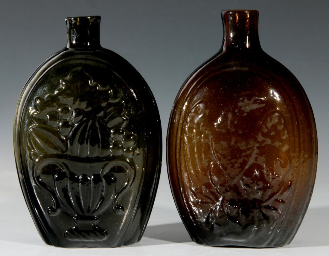 TWO GOOD 19TH C AMERICAN HISTORICAL FLASKS