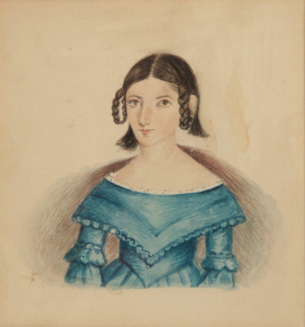A 19TH C. FOLK PORTRAIT OF MARY ANN HOLLINGSWORTH