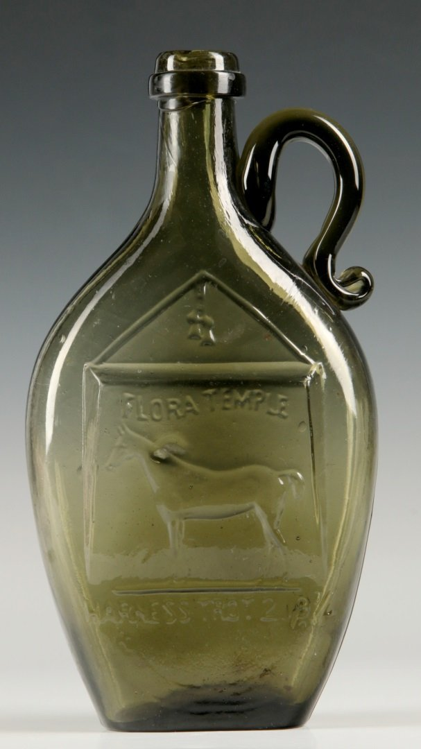 A RARE 19TH C. FLASK WITH RACEHORSE FLORA TEMPLE