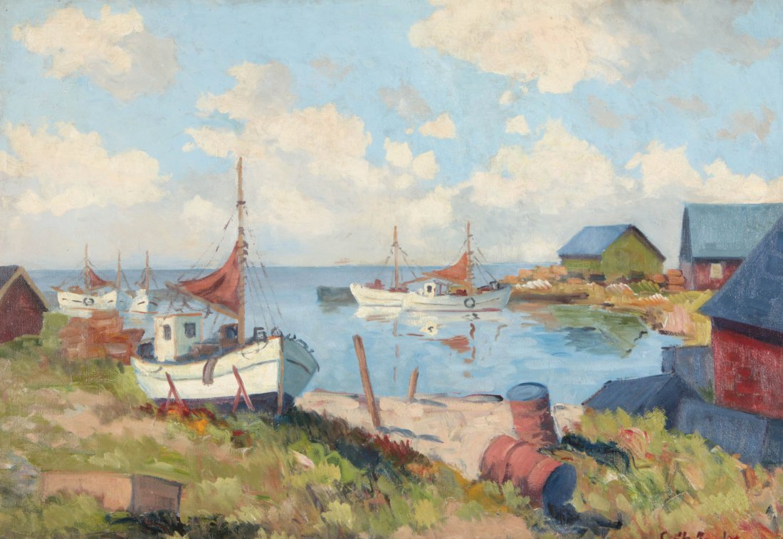A FINE EARLY TO MID 20TH C. HARBOR SCENE