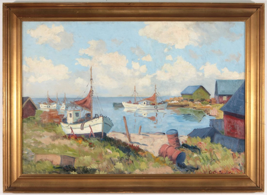 A FINE EARLY TO MID 20TH C. HARBOR SCENE - 2