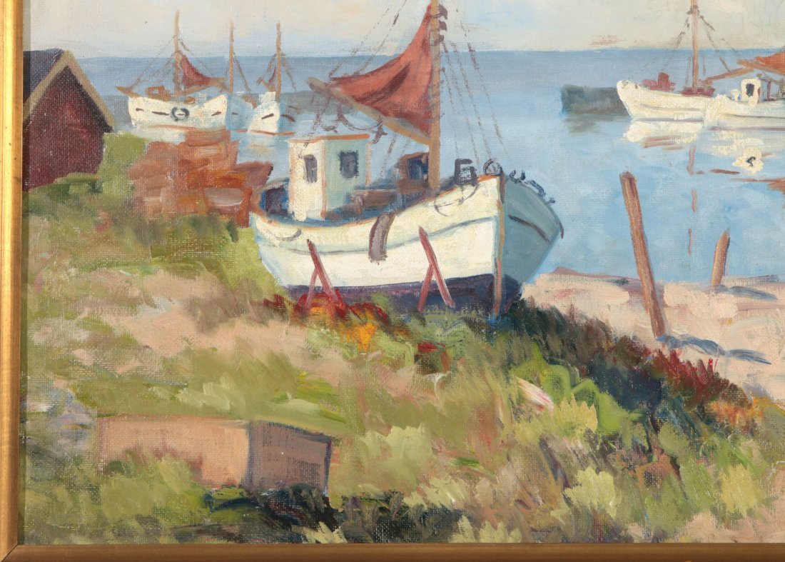 A FINE EARLY TO MID 20TH C. HARBOR SCENE - 6