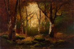 AN UNSIGNED EARLY 20TH C OIL ON CANVAS LANDSCAPE