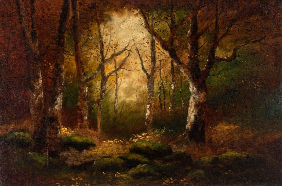 AN UNSIGNED EARLY 20TH C. OIL ON CANVAS LANDSCAPE