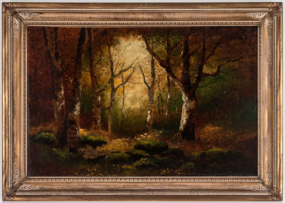 AN UNSIGNED EARLY 20TH C. OIL ON CANVAS LANDSCAPE - 2