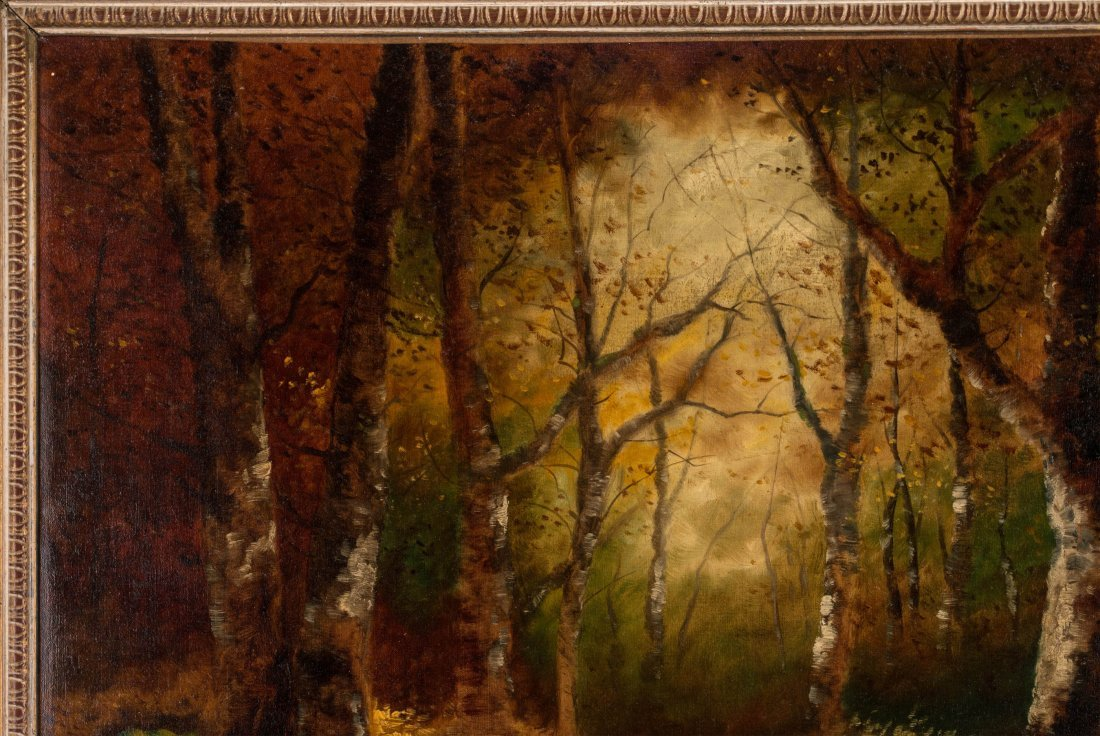 AN UNSIGNED EARLY 20TH C. OIL ON CANVAS LANDSCAPE - 3
