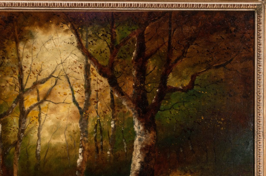 AN UNSIGNED EARLY 20TH C. OIL ON CANVAS LANDSCAPE - 4