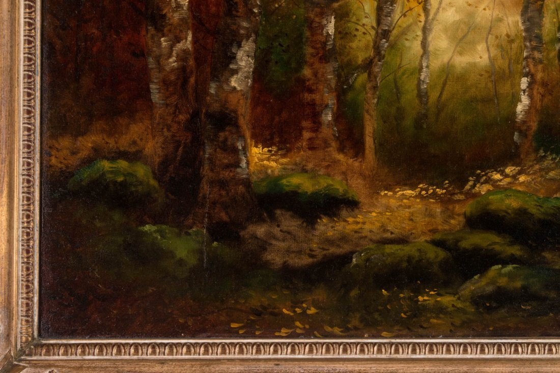 AN UNSIGNED EARLY 20TH C. OIL ON CANVAS LANDSCAPE - 5