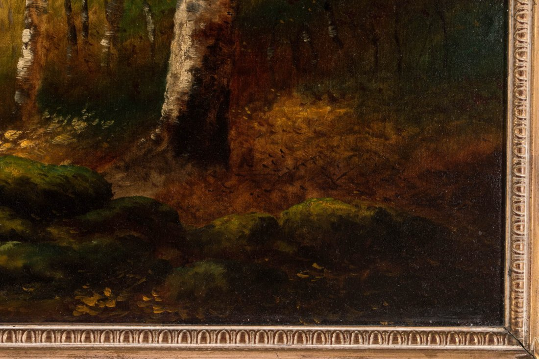 AN UNSIGNED EARLY 20TH C. OIL ON CANVAS LANDSCAPE - 6
