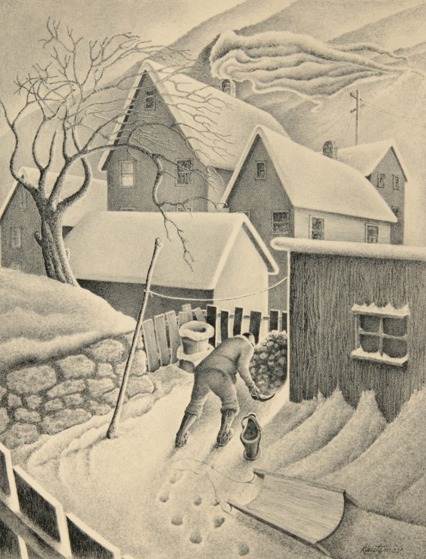 WILLIAM F. KAUTZMAN (1916- ) PENCIL SIGNED LITHOGRAPH