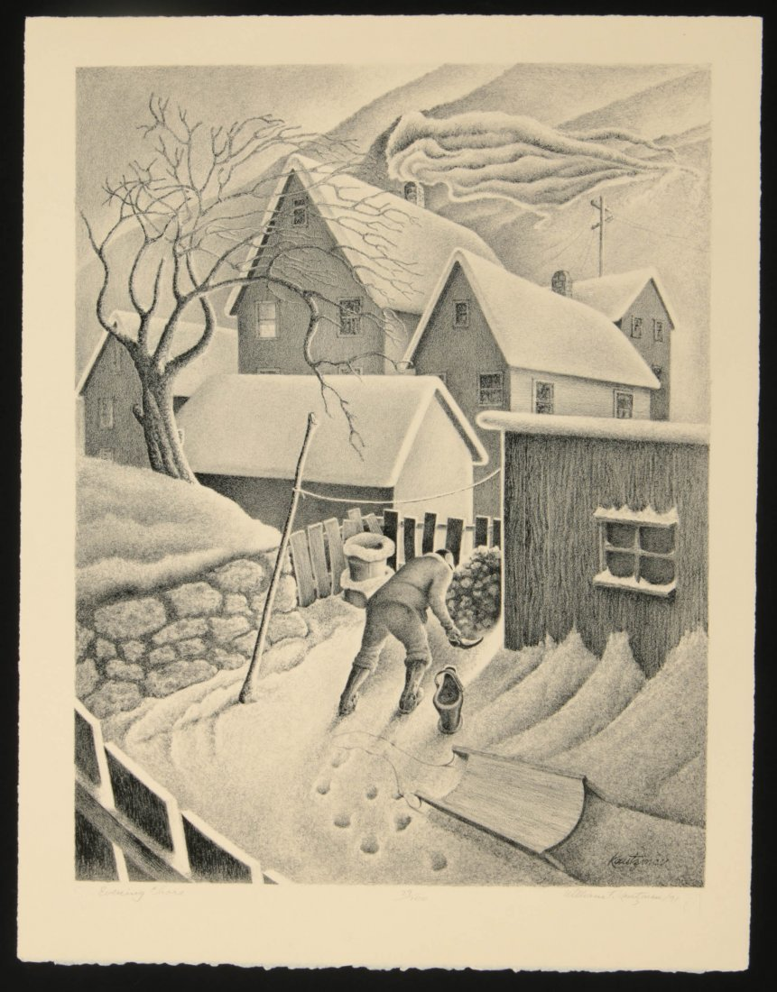 WILLIAM F. KAUTZMAN (1916- ) PENCIL SIGNED LITHOGRAPH - 2