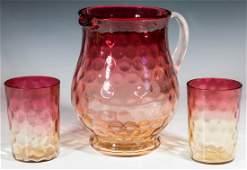 VICTORIAN AMBERINA ART GLASS PITCHER AND TUMBLERS