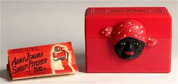 AN AUNT JEMIMA THEME RED PLASTIC RECIPE BOX