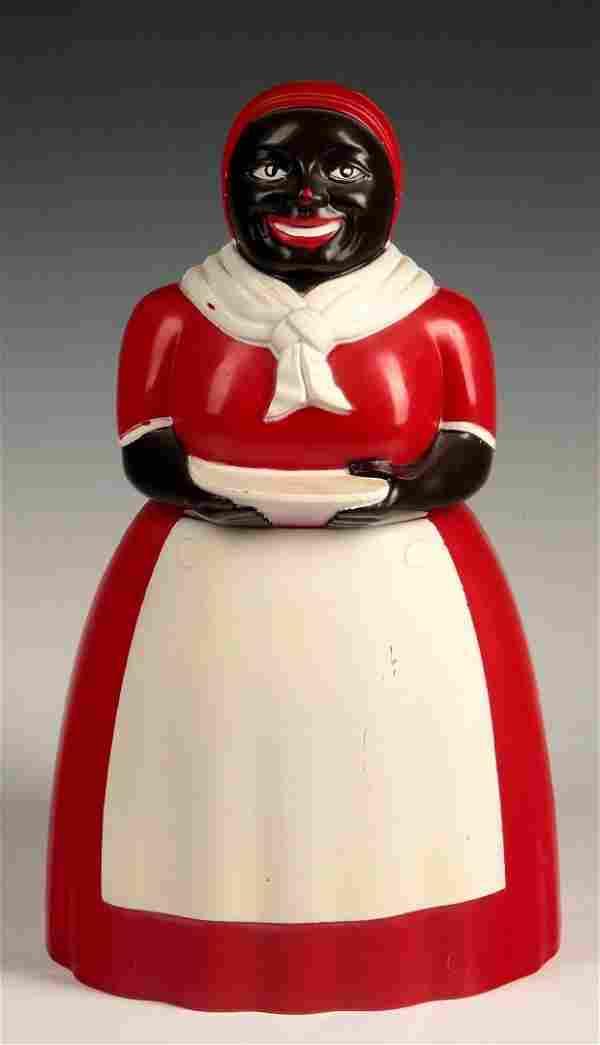 A VINTAGE F&F AUNT JEMIMA RED PLASTIC COOKIE JAR