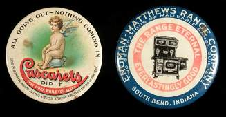 ANTIQUE ADVERTISING POCKET MIRROR AND PAPERWEIGHT