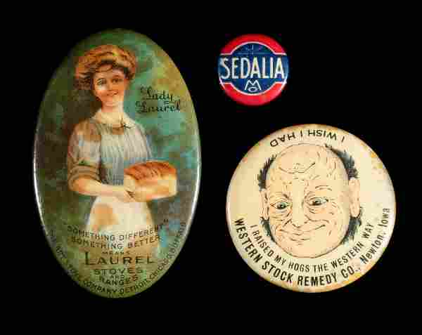 ADVERTISING POCKET MIRRORS; SEDALIA LAPEL BUTTON