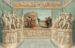 A LARGE 19TH C ITALIAN SCHOOL GOUACHE PAINTING