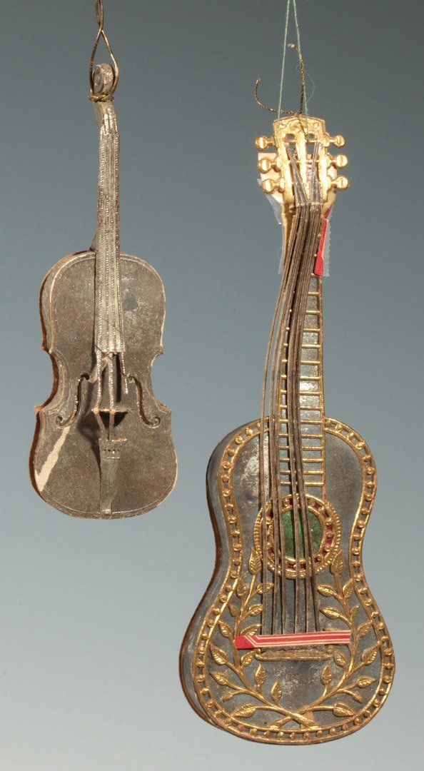 CA. 1900 DRESDEN VIOLIN AND GUITAR CANDY CONTAINER