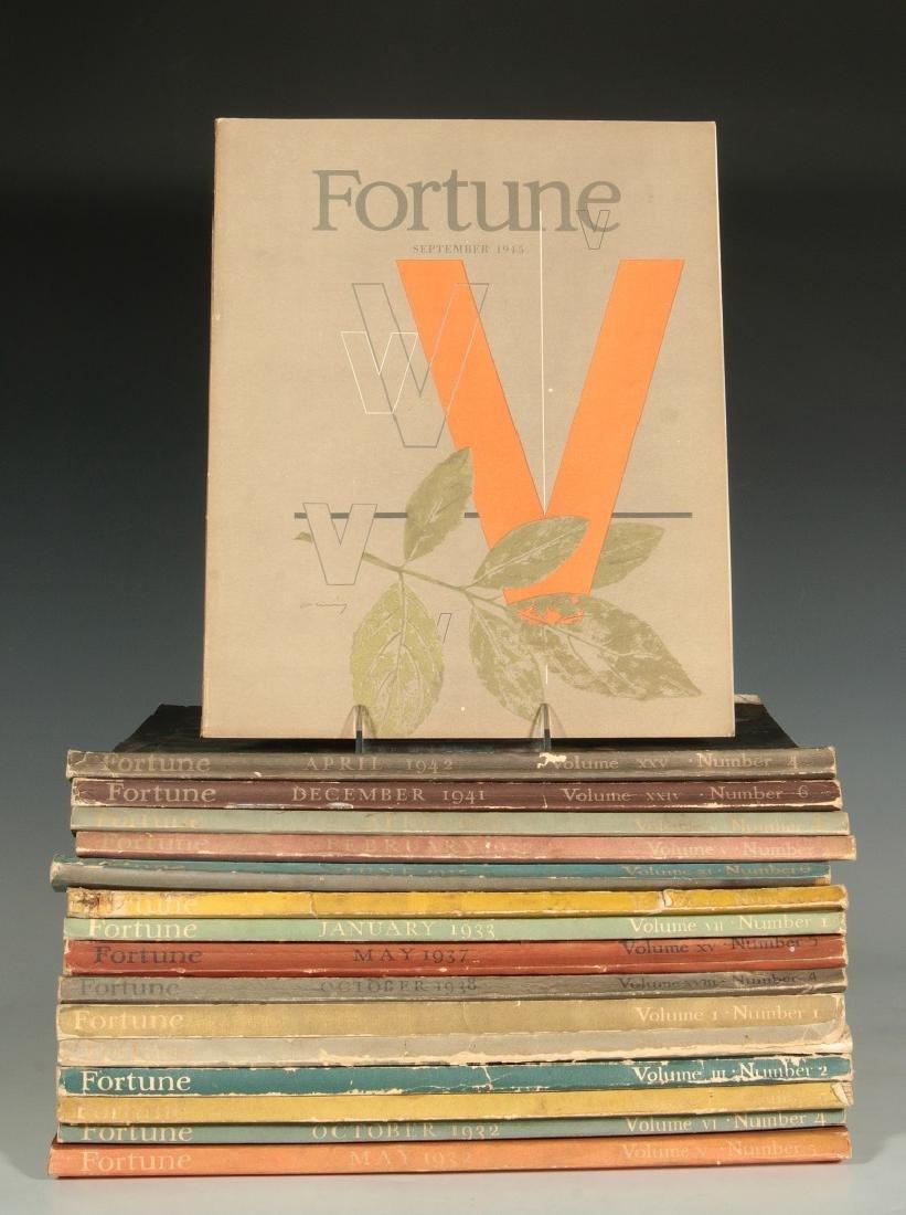 SIXTEEN UNBOUND VOLUMES OF FORTUNE MAGAZINES