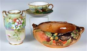 THREE PIECES OF HAND-PAINTED NIPPON CHINA