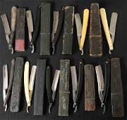 LOT OF TEN STRAIGHT RAZORS WITH BOXES